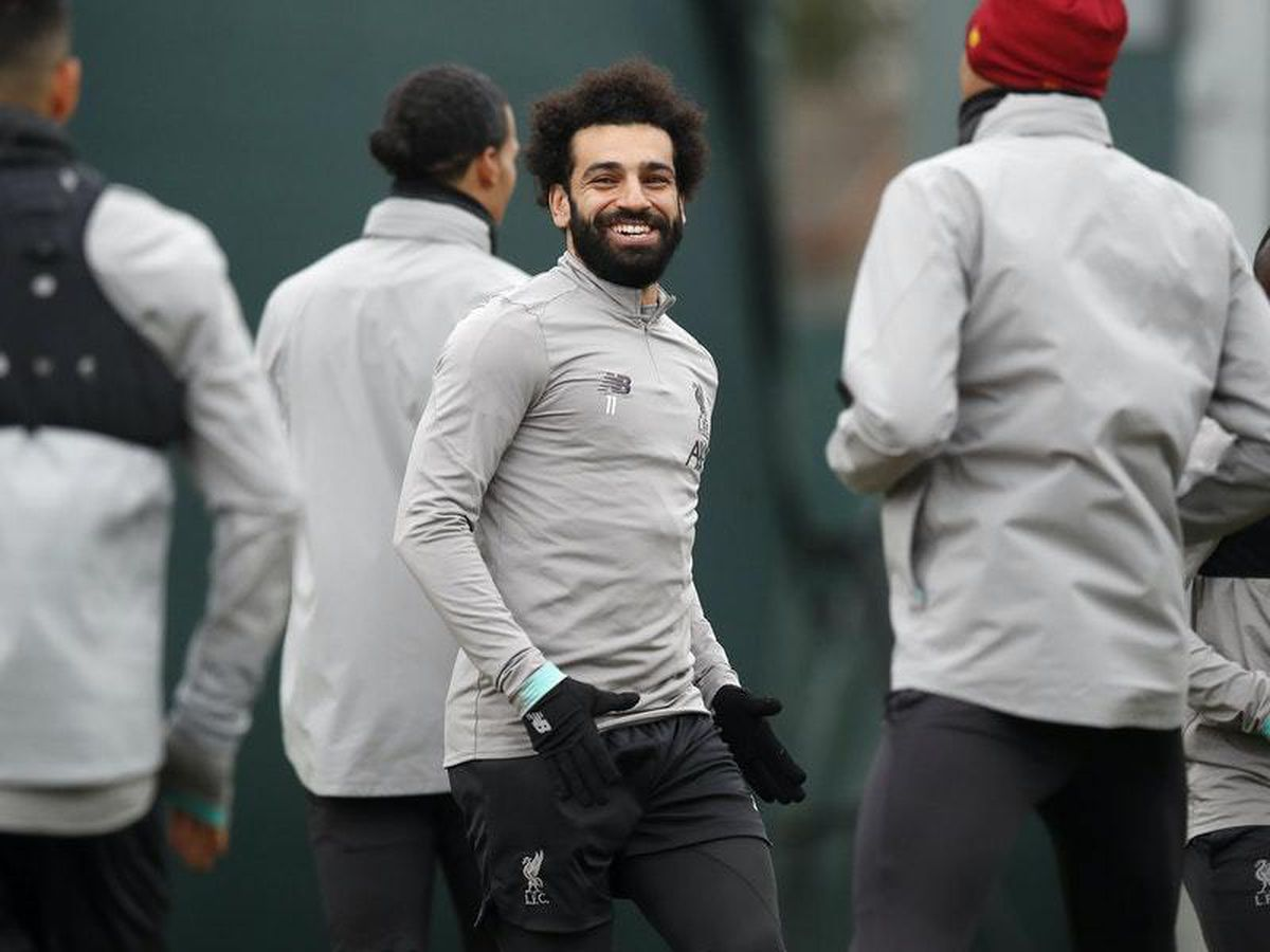 Mohamed Salah in training with his Liverpool team-mates prior to the suspension of English football