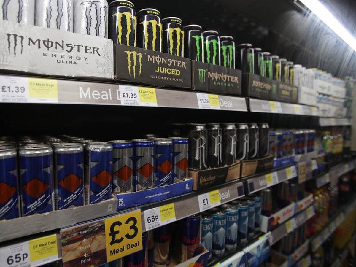 Energy drinks on sale in a supermarket