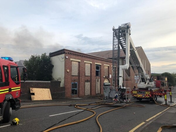 Fire at derelict Smethwick factory closes road