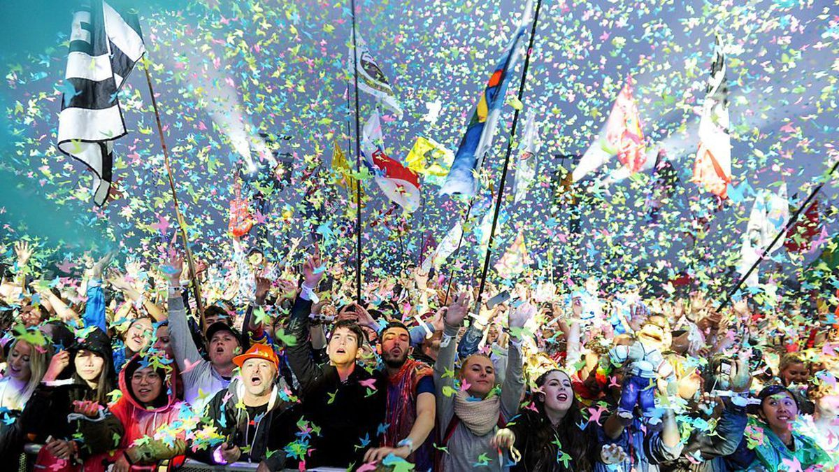 The Wolves flag visible at Glastonbury Festival 2016 during Coldplay's set