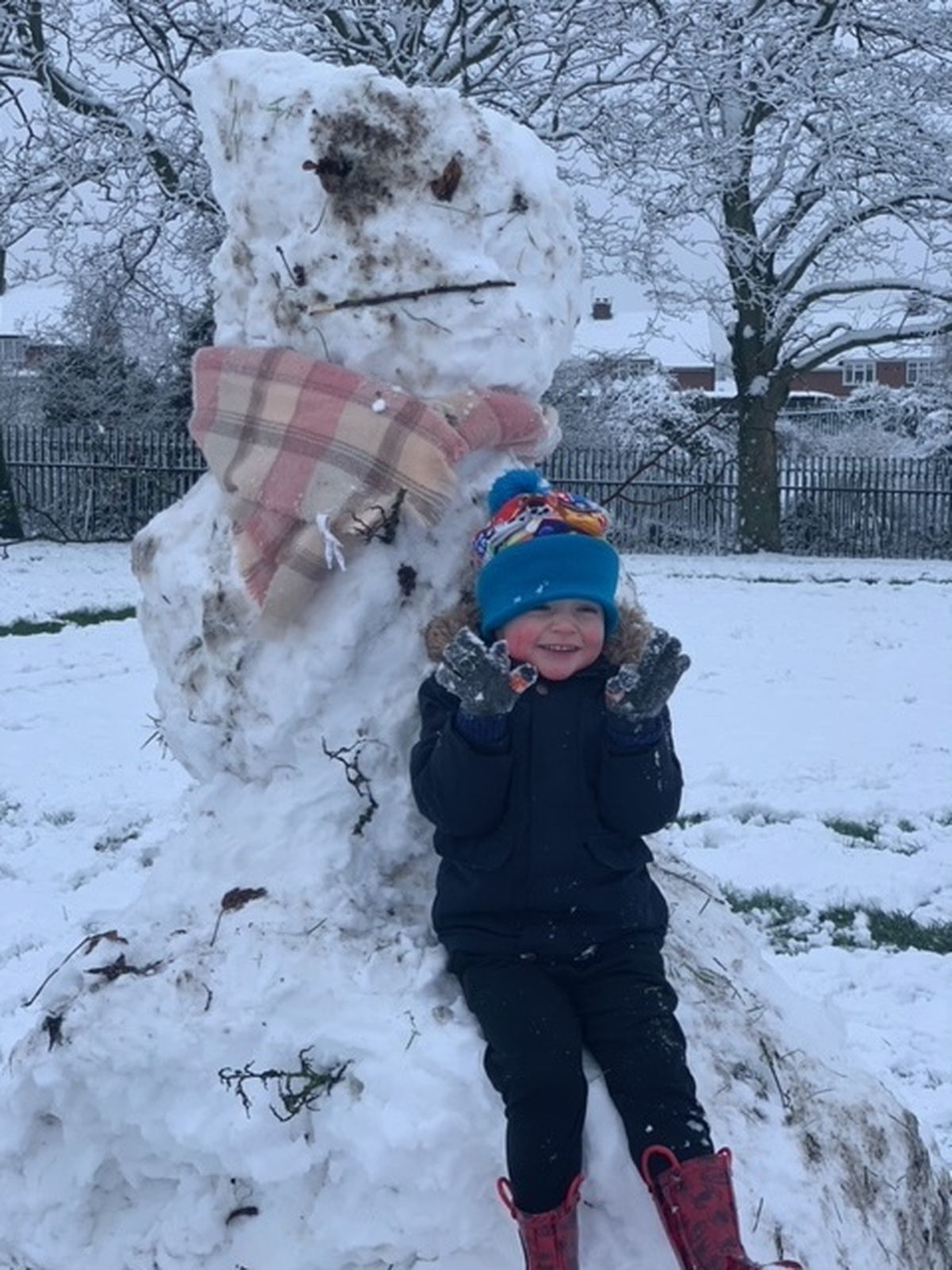 Chase, aged three, built his first snowman in Clayton Park, Coseley. Photo by Sharon Butler.
