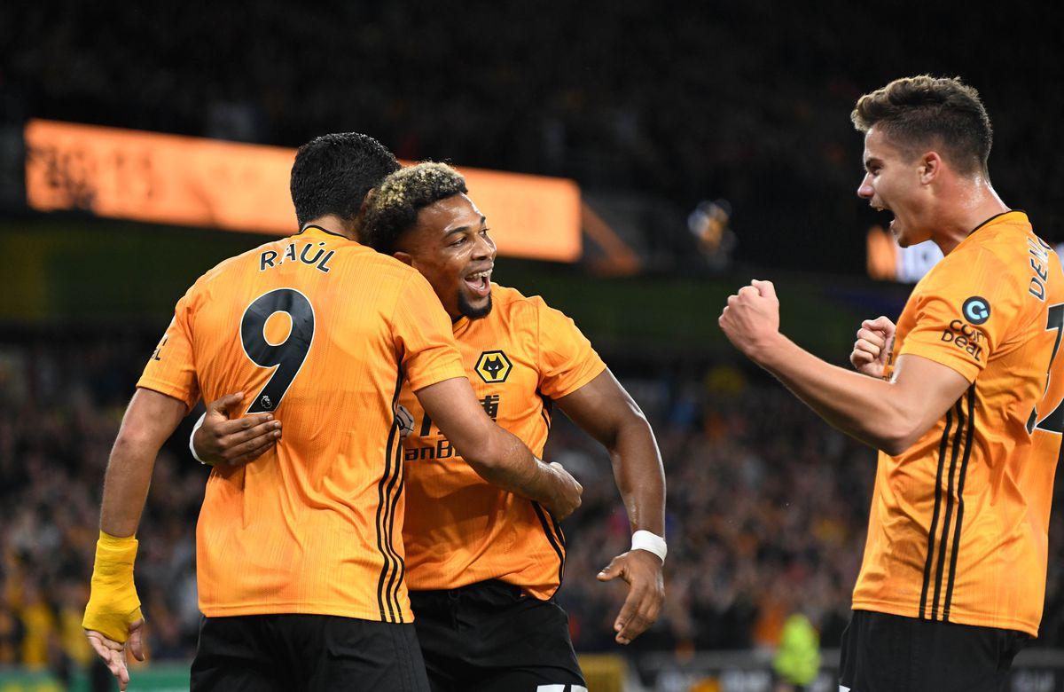 Raul Jimenez of Wolverhampton Wanderers celebrates after scoring a goal to make it 1-0 with Adama Traore (AMA)