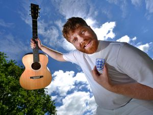 WOLVERHAMPTON COPYRIGHT EXPRESS AND STAR STEVE LEATH 07/01/2021..Pic in Perton of singer/Songwriter: Ryan Evans. He was beng asked to play England Footy songs at his gigs so has gone one better and written his own. Out on release now..