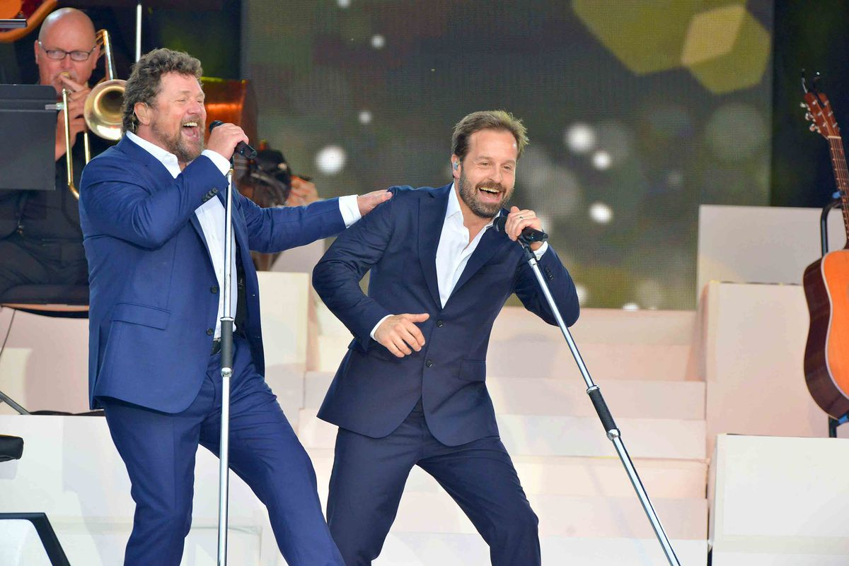 Alfie Boe and Michael Ball gig enjoying a gig in Walcot Hall, near Bishop's Castle, Shropshire, in 2017