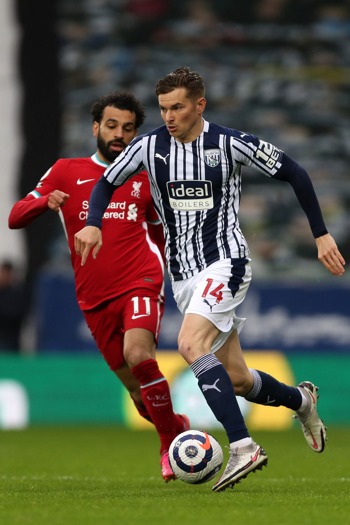 Conor Townsend of West Bromwich Albion and Mohamed Salah of Liverpool. (AMA)