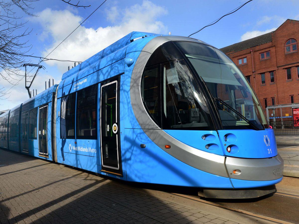 The latest West Midlands Metro tram in Wolverhampton city centre