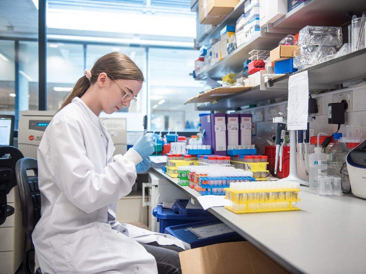 A researcher in a lab at Oxford University
