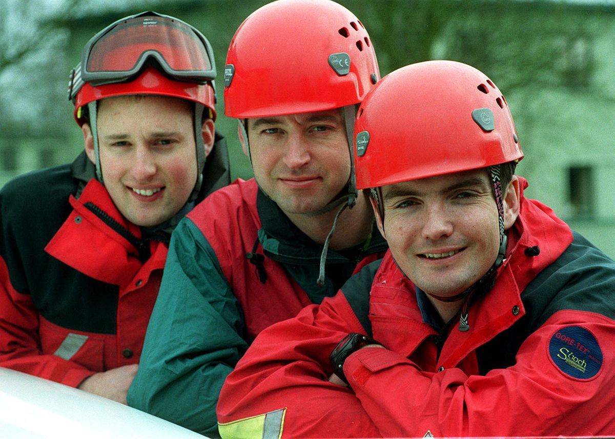 Mountain Rescue feature team members SAC Ben Lasham, SAC Colin Little and corp Tim Sugars, pictured in 2001