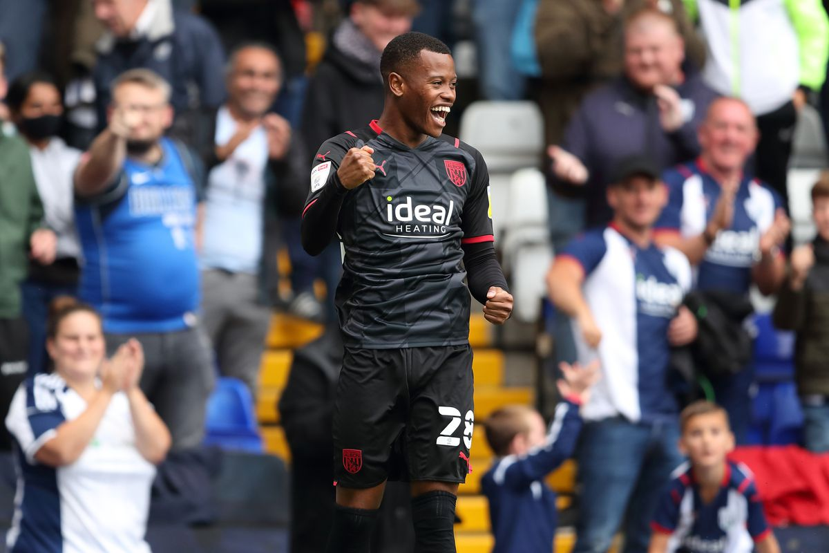 Rayhaan Tulloch of West Bromwich Albion celebrates after scoring a goal to make it 4-0. (AMA)