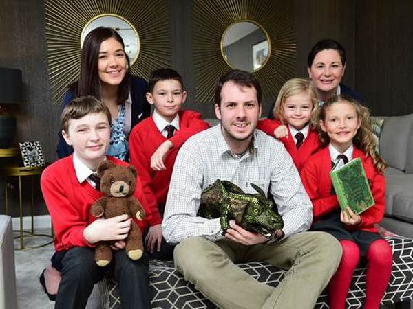 Pupils from Christ Church CofE with Sales Advisers from Hallam Park and Tom The Tale Teller