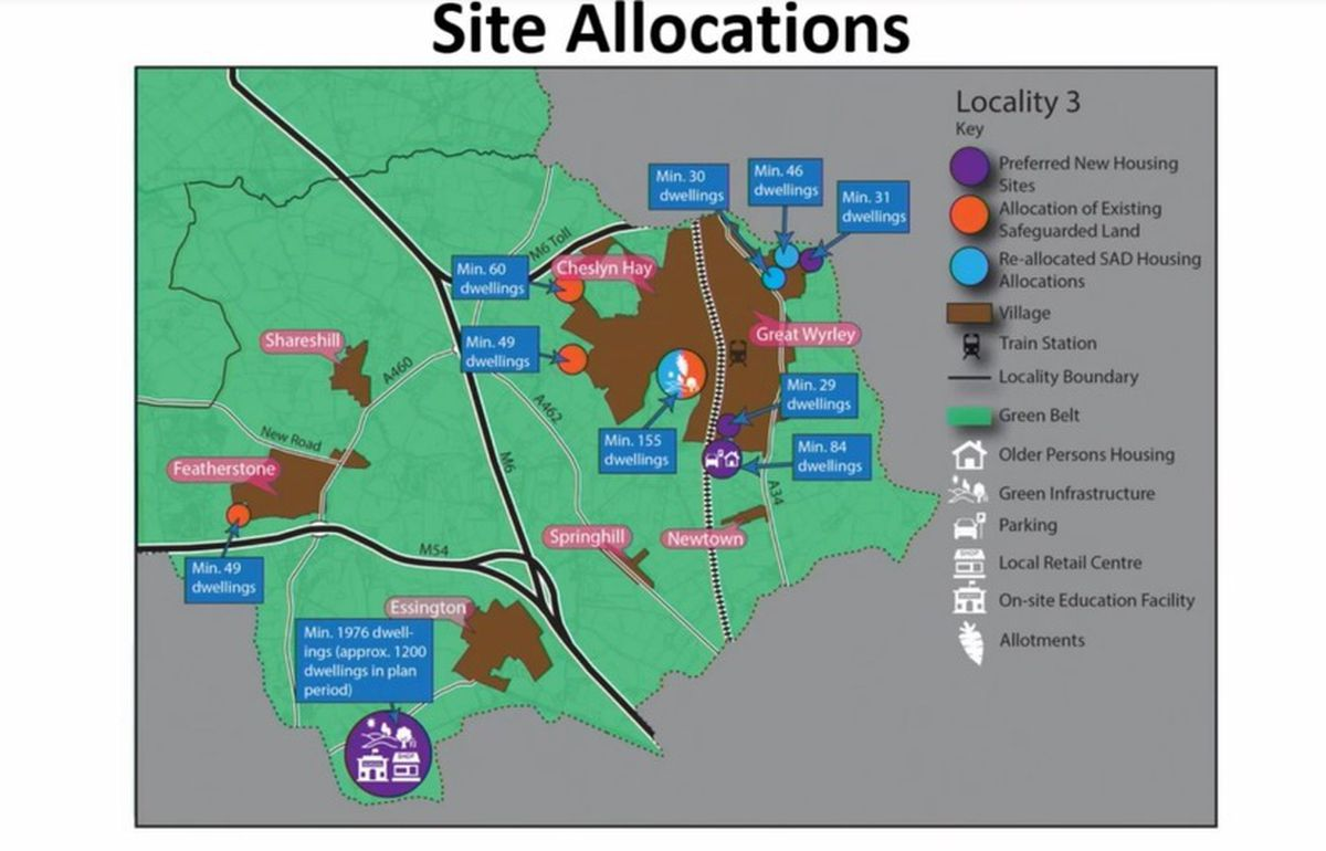 A map of proposed housing site allocations in south Staffordshire