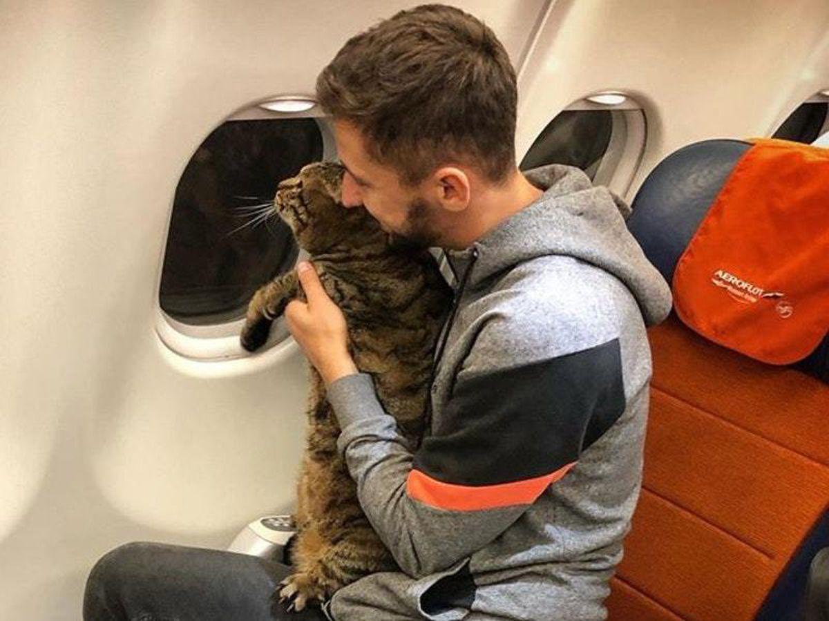 Mr Galin with his cat Viktor