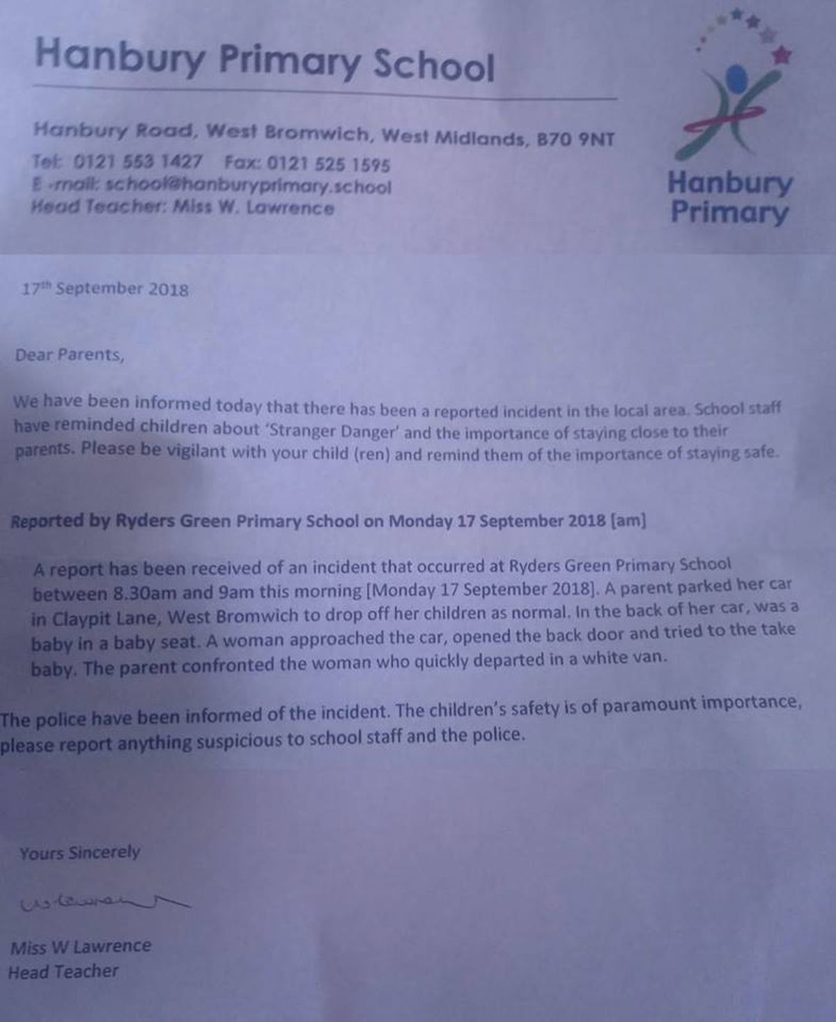 The letter informing parents of the incident