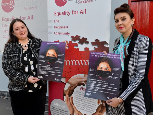 SANDWELL COPYRIGHT TIM STURGESS EXPRESS AND STAR...... 26/11/2020. Shield community engagement officers , left, Gyongyver Janya and Asma Rhaza at Oldbury headquarters of the charity Right and Equality Sandwell [RES]. RES works to help non-English speakers from different backgrounds with everyday life. They deal with hate crimes and race crime.  .