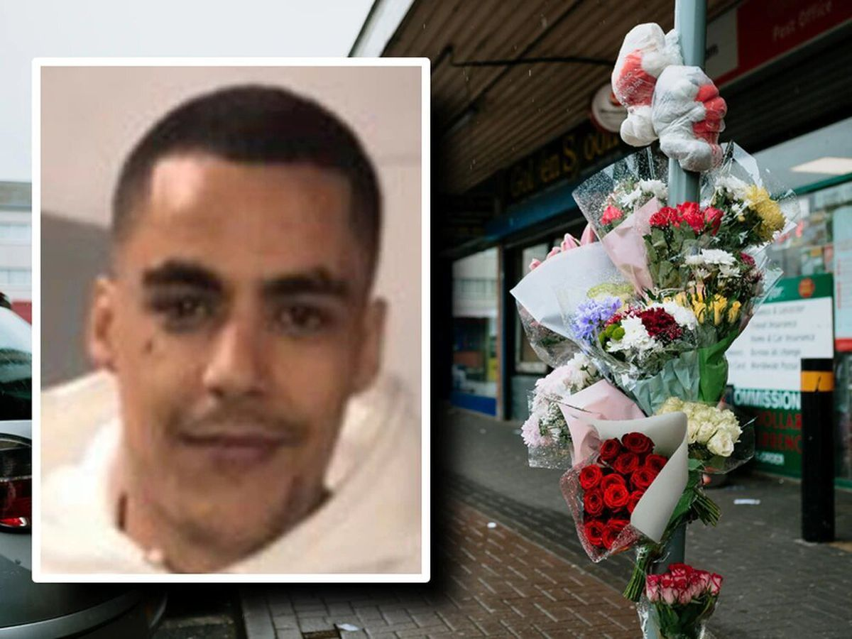 Tributes at West Cross Shopping Centre where Karl Gallagher, inset, was killed