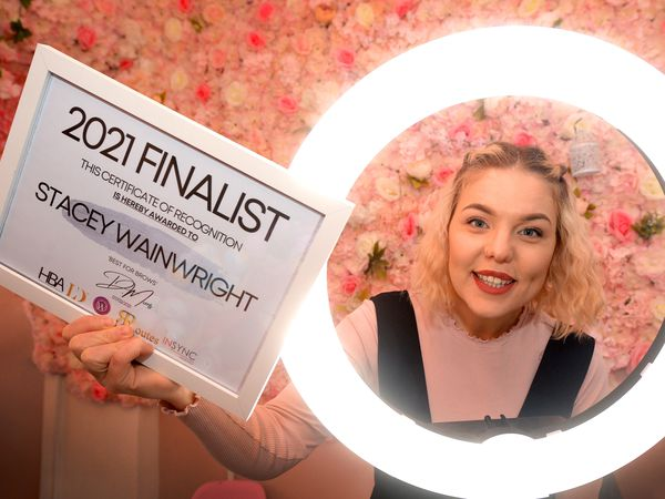 WOLVERHAMPTON COPYRIGHT EXPRESS&STAR TIM THURSFIELD 06/03/21.Stacey Wainwright from Creative Beauty Boutique, Wolverhampton, celebrates being a finalist in the UK hair and beauty awards..
