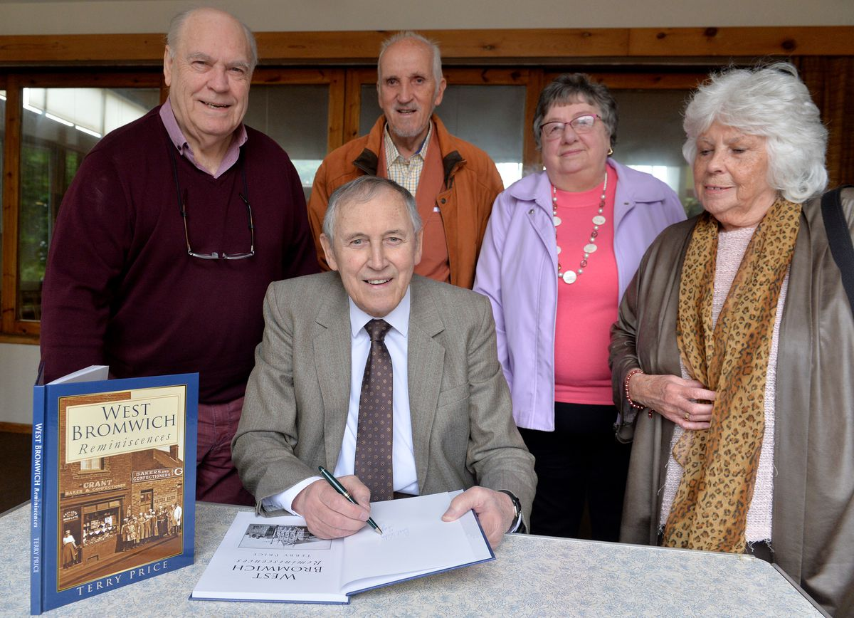 Terry Price at at Wesley Methodist Church , West Bromwich, for the launch of his final book, West Bromwich Reminiscence, in October 2019