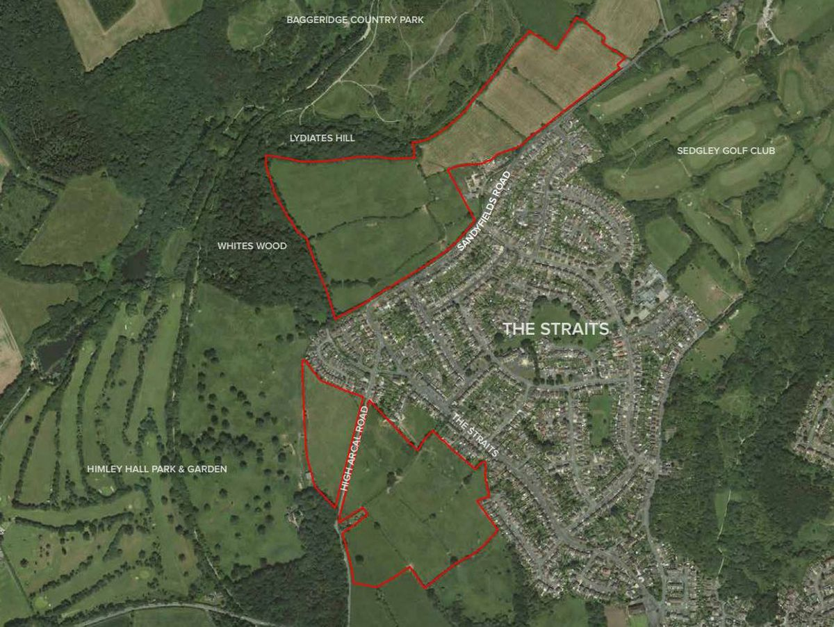 A map showing the sites of the potential developments