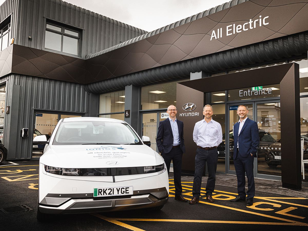 Tony Gibb, Thursfields, Jason Pickerill, MD of All Electric Garages, and Mike Price, Fisher German