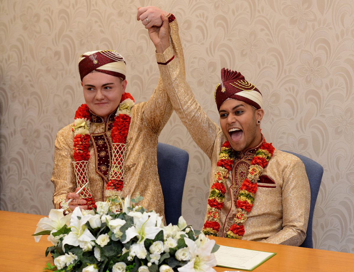 Jahed Choudhury and Sean Rogan were married at Walsall Registry Office