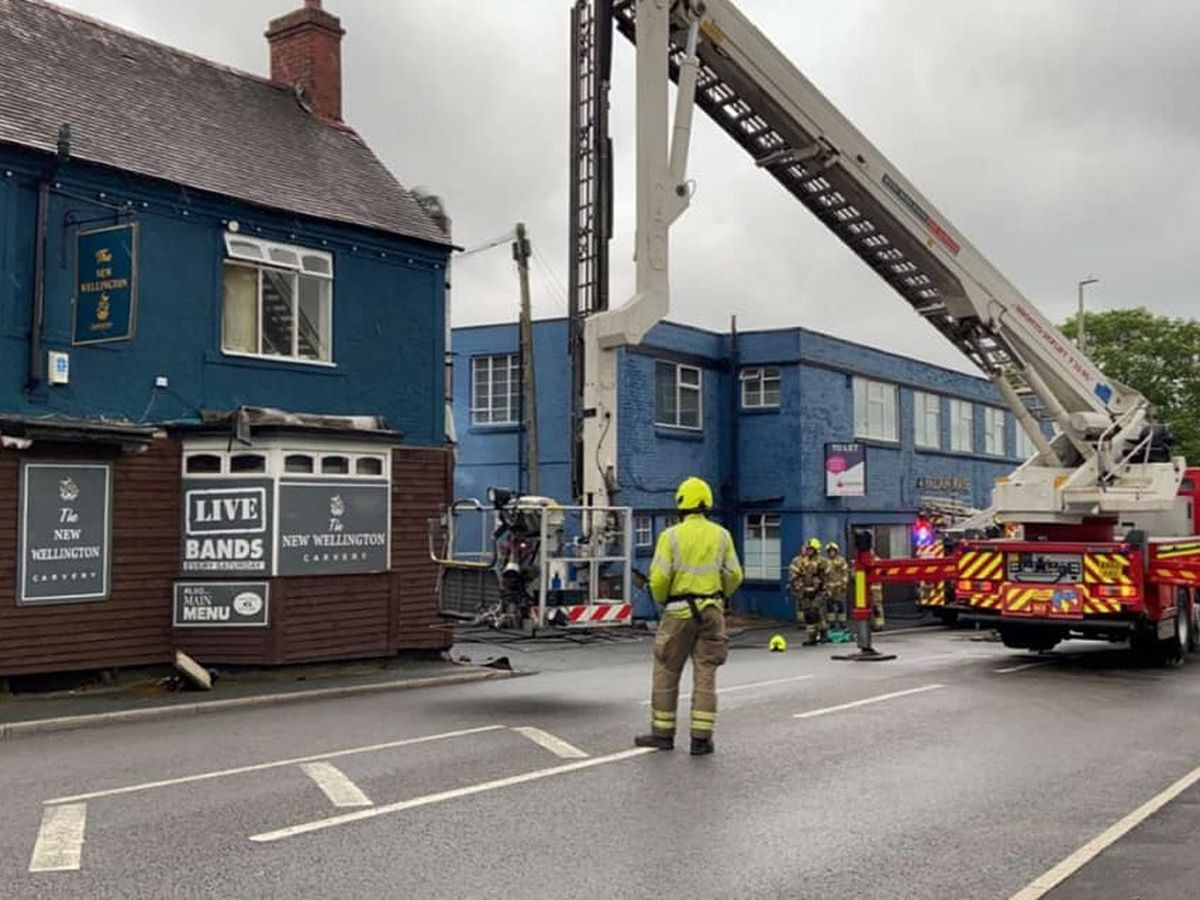 Firefighers at the New Wellington pub in Brettell Lane, Brierley Hill. Photo: The New Wellington/Facebook