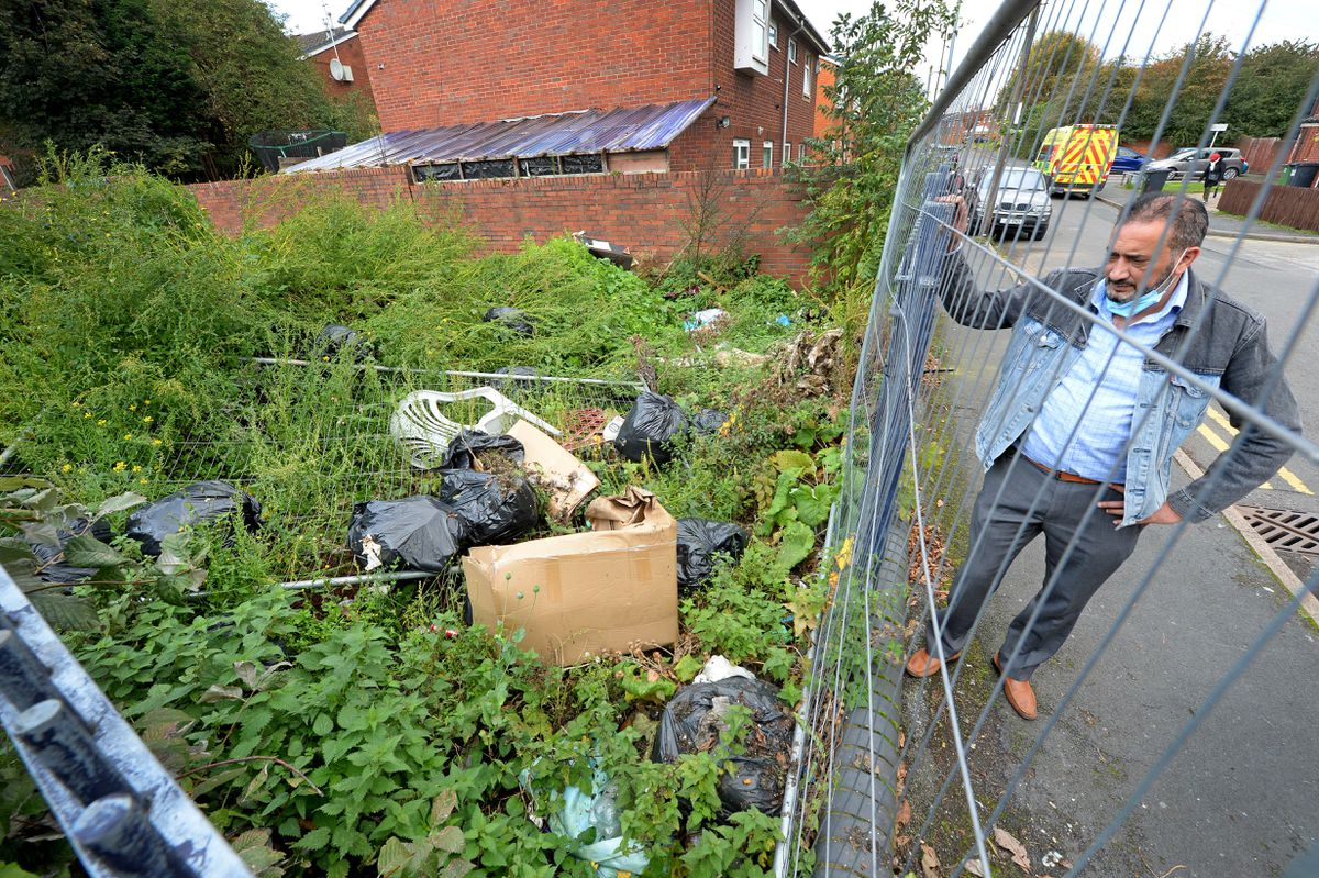 Basharat Khan is concerned about fly-tipping taking place in Hopkins Street, Tividale