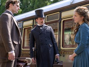 Henry Cavill, Sam Claflin and Millie Bobbie Brown filming at the Severn Valley Railway. Photo: Netflix