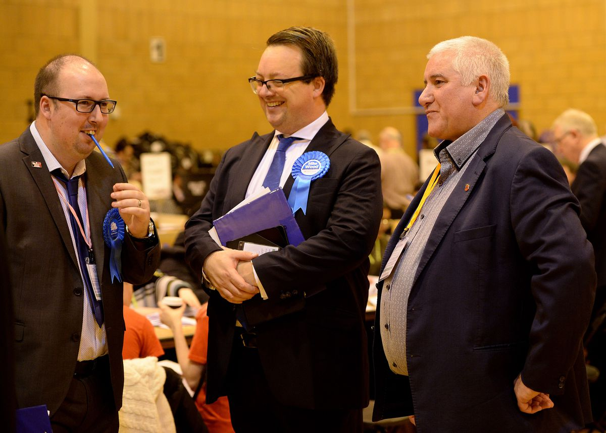 Dudley South MP Mike Wood, centre, with Dudley Council leader Patrick Harley