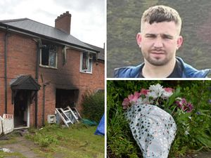 Fire damage at the house in Sedgley where Conna Hincks, pictured, tried to rescue a woman who was killed