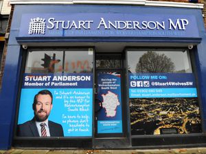 The word 'scum' was sprayed on the constituency office of Stuart Anderson MP this morning