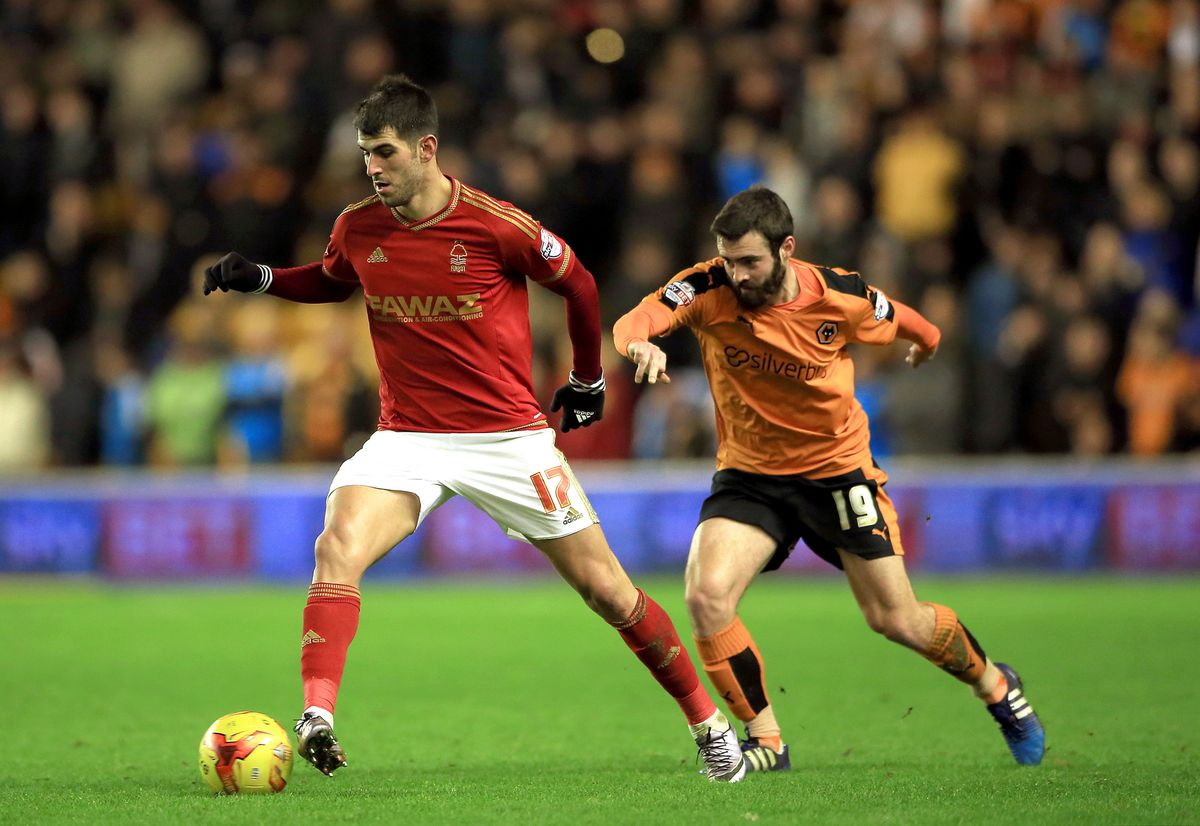 Nelson Oliveira playing against Wolves for Nottingham Forest (AMA)