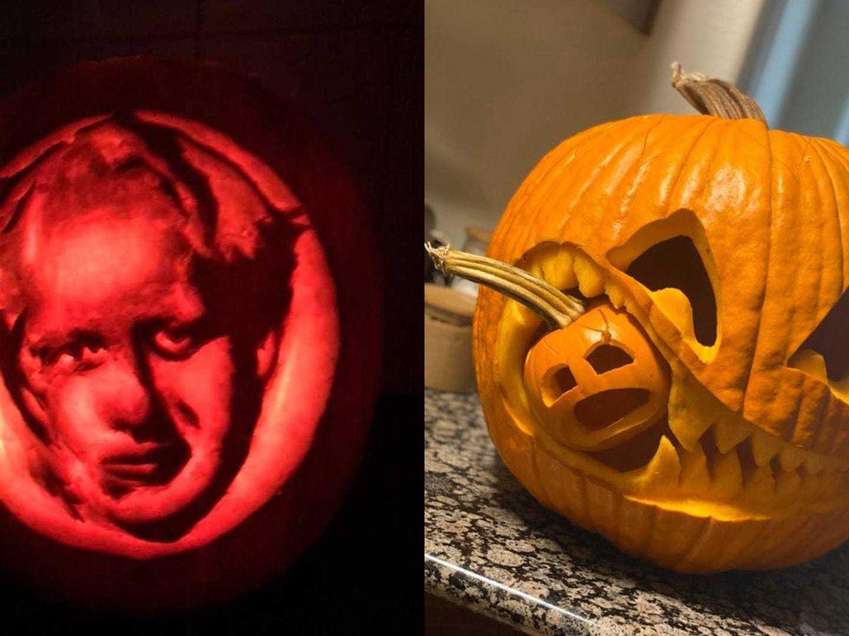 Two of 2020's best pumpkins, including a Boris Johnson pumpkin