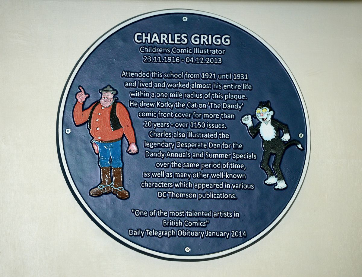 Event to unveil the blue plaque and celebrate the work of Dandy comic artist Charlie Grigg, at Rood End School, Oldbury, which was his school when he was a young boy.