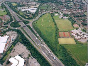 Churchill Road bridge, Bentley, and Pouk Hill urban open space near M6 Junction 10