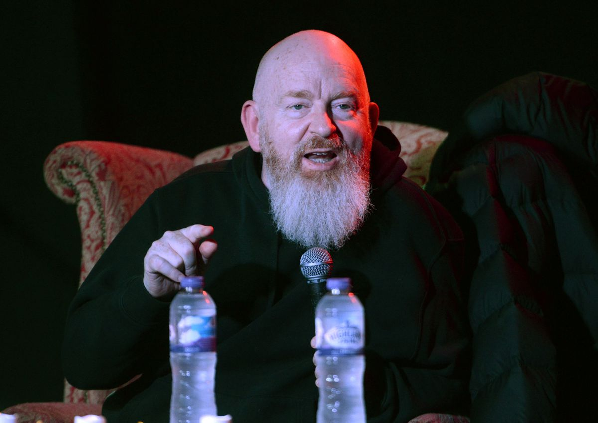 Scottish businessman and music industry executive Alan McGee talking at the The Slade Room as part of the Wolverhampton Literature Festival