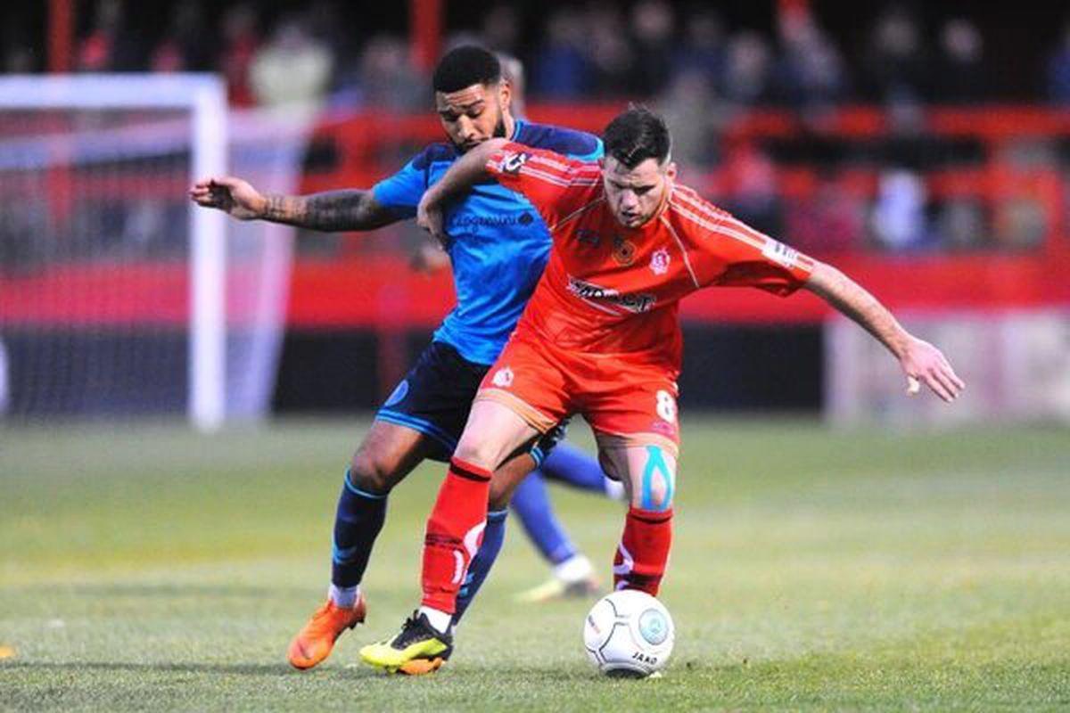 Jordan Sinnott in action for Alfreton Town against AFC Telford in 2018