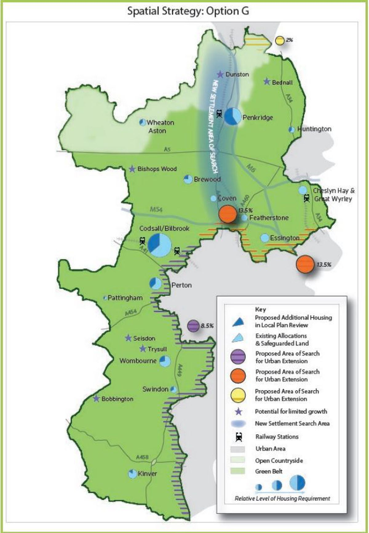 A South Staffordshire Council map showing its current preferred plan for development