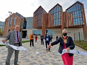 Mayor of Wolverhampton Claire Darke opens the School of Architecture and Built Environment with vice chancellor Geoff Layer