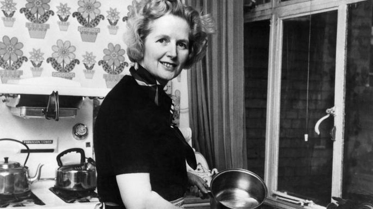 Margaret Thatcher pictured at home in 1974