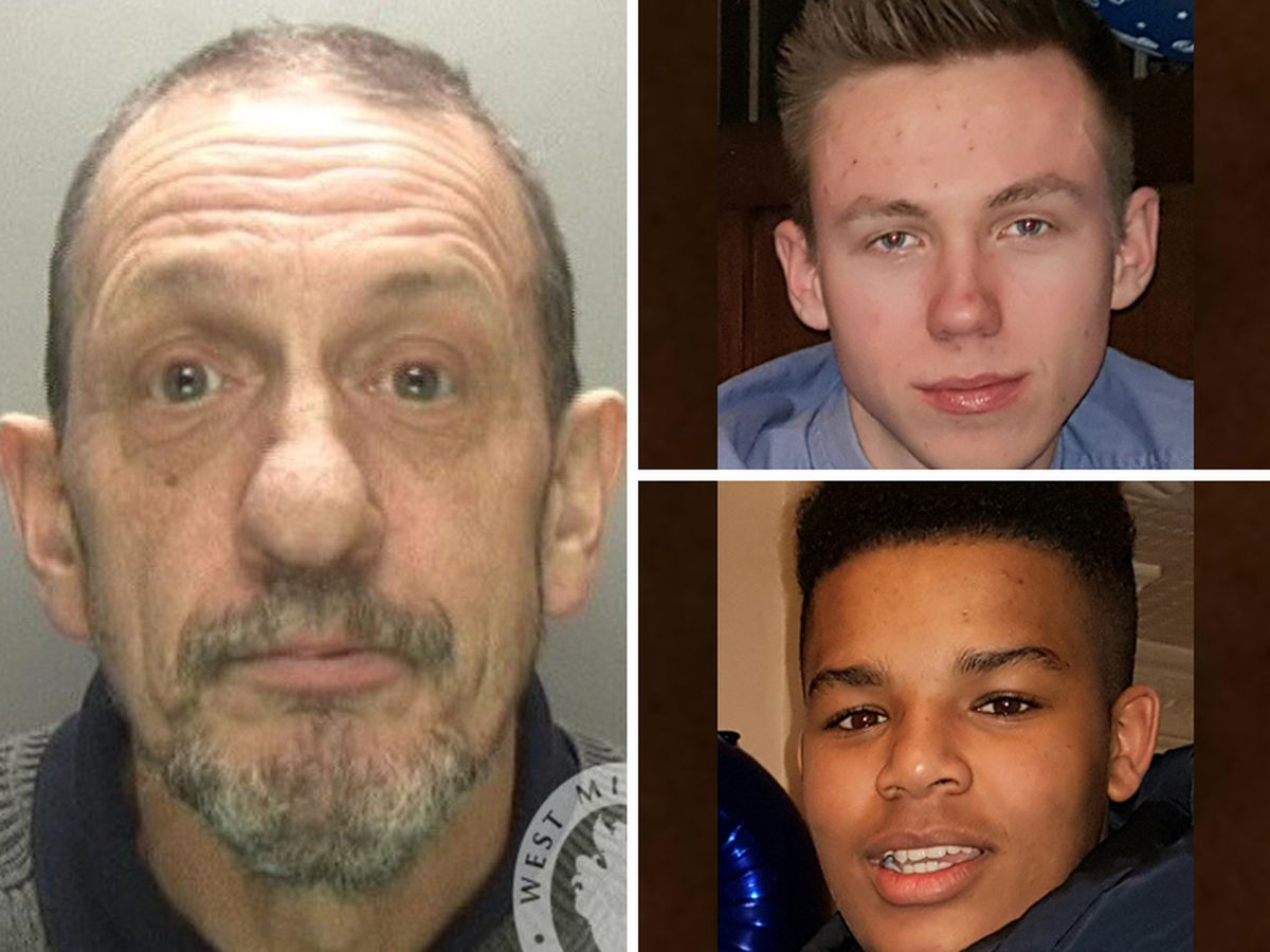 Alex Lees, top right, and Tarik Campbell, bottom, died in a crash with a car driven by Stephen Lloyd, left
