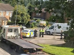 Police and a recovery truck at the scene in Aldeford Close. Photo: Dawn Siverns