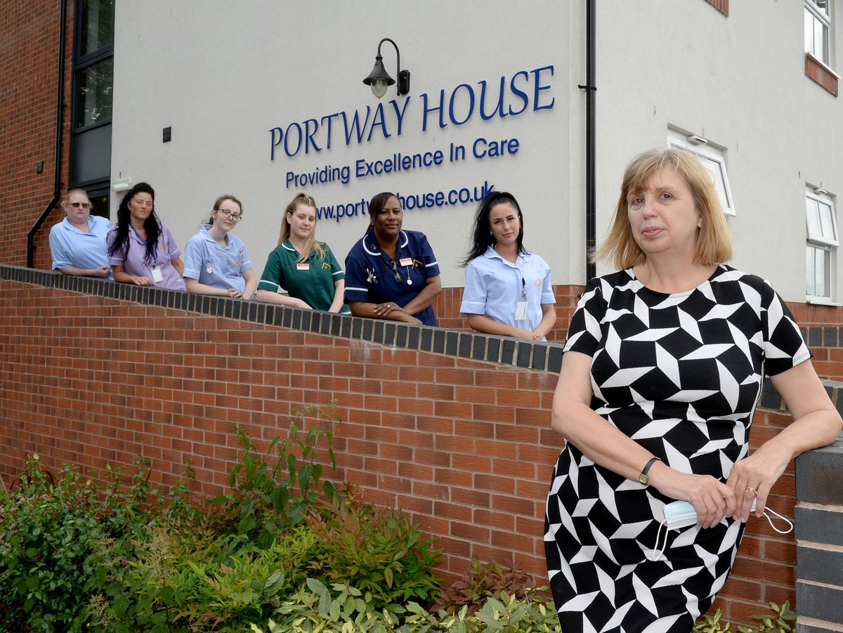 Home manager Kim Young with staff at Portway House