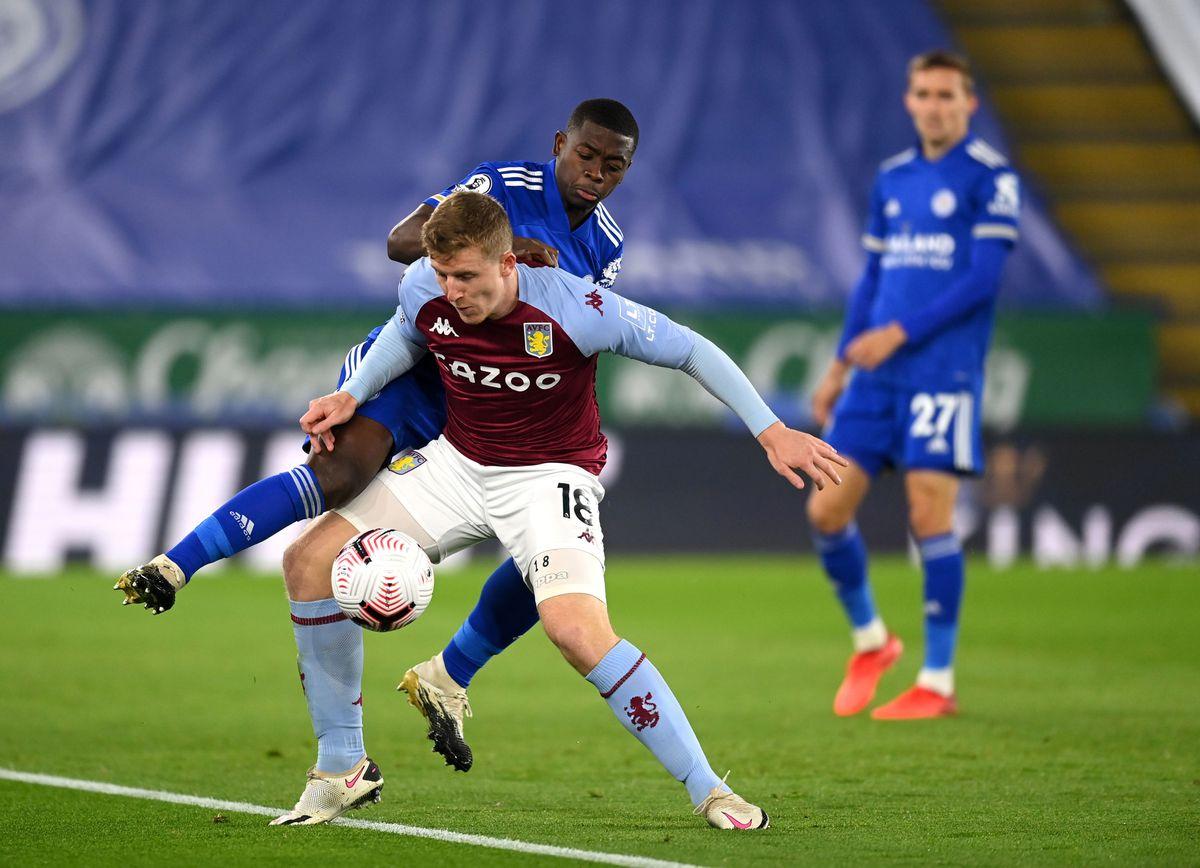Aston Villa's Matt Targett (left) and Leicester City's Nampalys Mendy