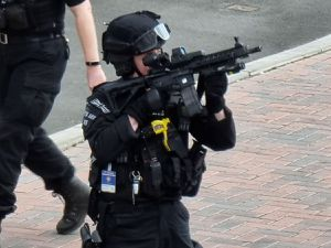 Armed police in Colerne Street, Wolverhampton. Photo: Holly Welch