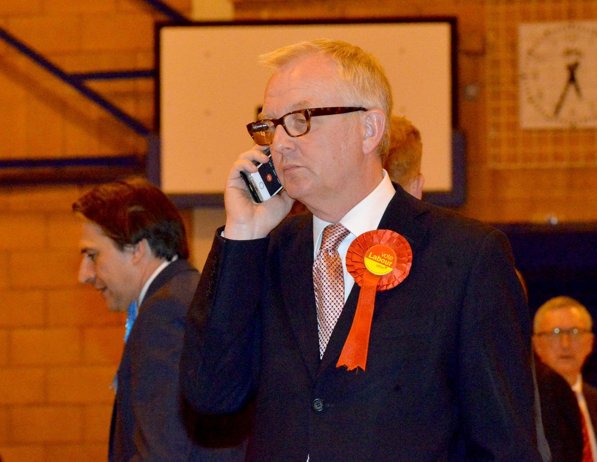 Ian Austin looks tense as the recount continues