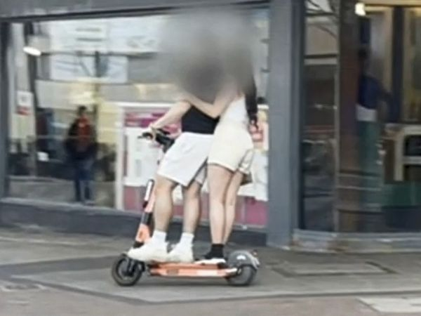 A rented e-scooter being ridden through Birmingham. Photo: Midlands Today