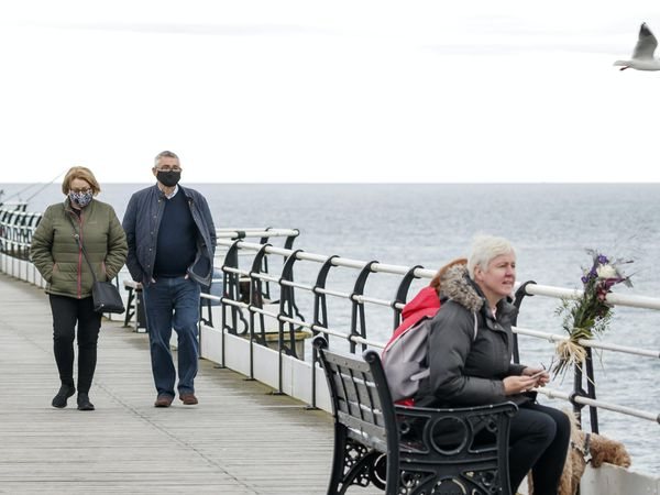 People on Saltburn Pier in North Yorkshire
