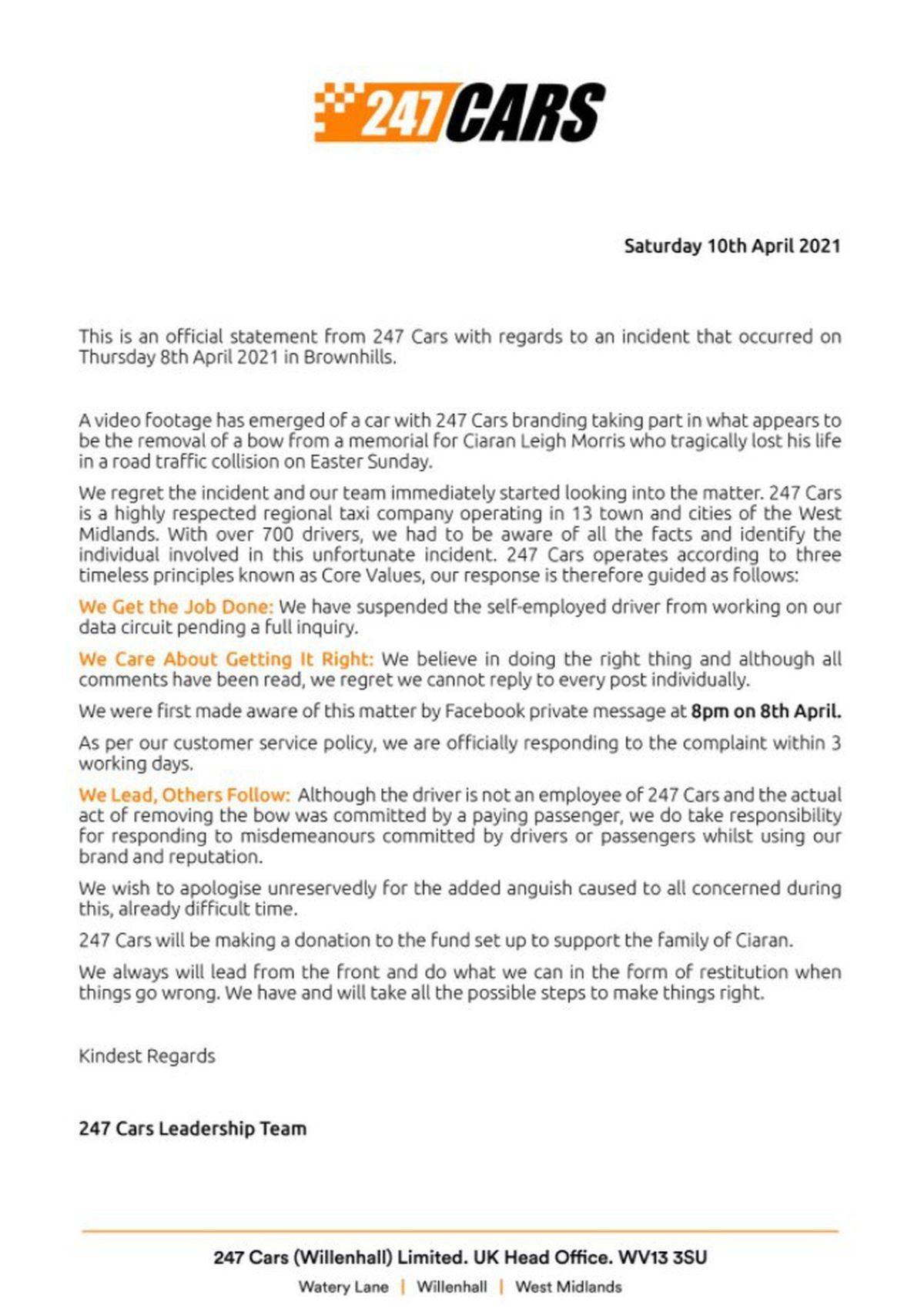 The letter posted on Facebook by 247 Cars