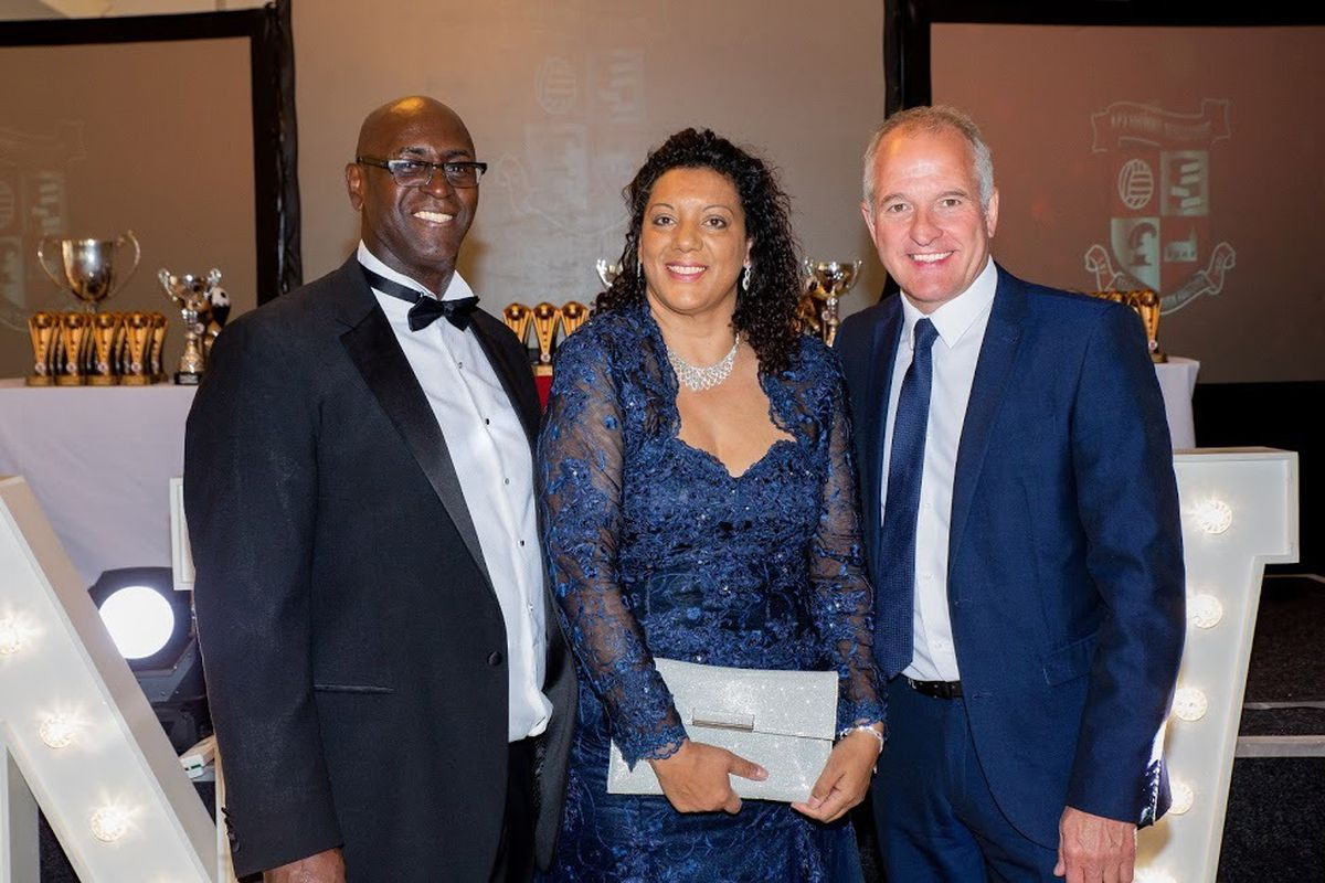 A winning team – Joe Jackson, his wife Debbie and Wolves legend Steve Bull at the NPV anniversary Picture: Glen Russell