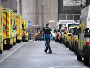 Ambulances at Whitechapel hospital in London at the peak of the second wave of coronavirus on January 12 (Stefan Rousseau/PA)